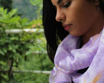 summer silk scarf hand dyed with the arashi shibori technique/purple and gold/foulard/marble effect/100%silk/55x18 in