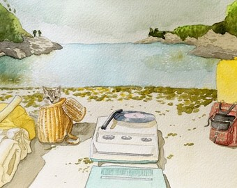 Moonrise Kingdom Original Watercolor Painting Print