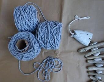 Macrame cotton cord, gray macrame rope, macrame string, natural gray cotton cord, macrame cotton string, 3mm macrame rope, gray twine