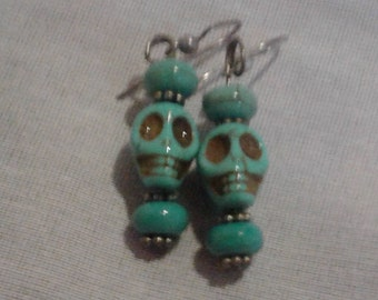 Turquoise Sugar Skull Earrings
