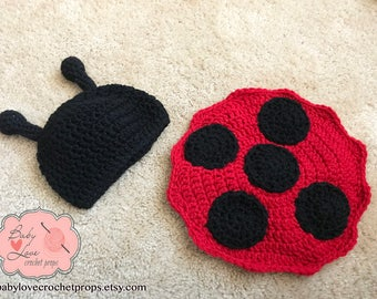 Ladybug Insect Bug Infant Newborn Baby Outfit Beanie Hat Back Bum Tushie Cover Crochet Photography Photo Prop