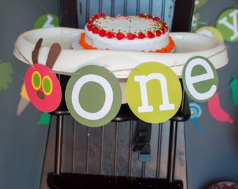 ONE very hungry caterpillar first birthday banner.  Very hungry caterpillar birthday,  caterpillar high chair banner
