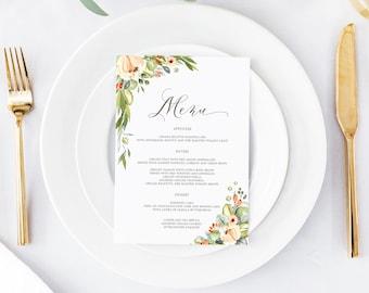 Printable Wedding Menu, Wedding Menu Template, Floral Wedding Menu, Menu Template, Blush Greenery Leaves Wedding Menu Boho Wedding, Menu 001