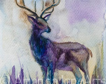Stag, deer, picture, watercolour, print, abstract art, painting, gift