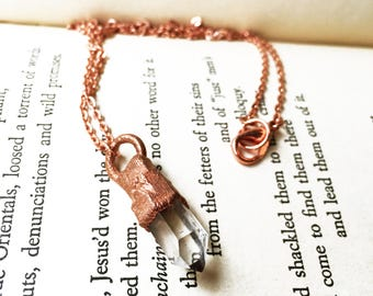 Quartz Point Necklace, Copper Quartz Crystal Point Necklace, Clear Crystal Pendant Necklace, Electroformed Copper Jewelry, Handmade Necklace