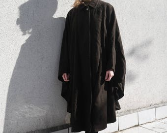 Cape Dark Brown- Brown Over through- Poncho Brown With Collar- Wool Cape Coat