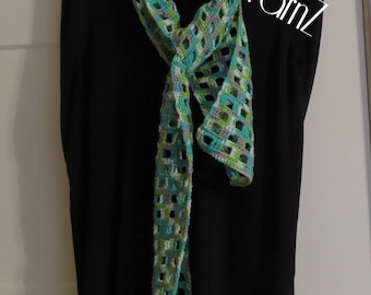 ELEGANT WINDOWPANE SCARF, cotton & acrylic, variegated, gifts for her, lightweight, handmade, lime green, teal, gray, white