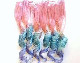 Rainbow Pastel Pink Mint Lavender Mermaid Unicorn Ombre Real Human Hair Extensions Clip In Hair Extension Festival Hair Weave Ariel Disney