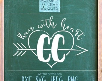 Run with Heart - Cross Country -- SVG, PNG, Jpeg, DXF cut file for Silhouette, Cricut -- Instant Download Clipart - Printable Art