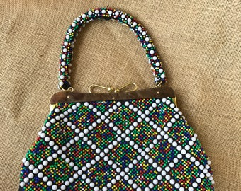 Bead Bag with Clasp and Hinged Lip