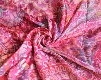 Rose Coral Design Stole sarong style Silk Scarf Hand Painted Batik. Excelsior Silk Scarf (195 x 85 cm)