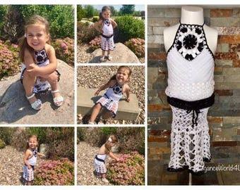 Crochet child halter top and skirt, Halter top, crochet skirt, Crochet skirt and top