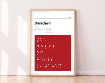 DAREDEVIL - Alternative Poster - Marvel - Matt Murdock - Stan Lee - Charlie Cox - Elektra - Braille - PRINT