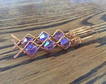Purple and Copper Diamond Earrings