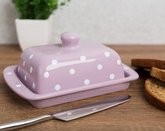 City to Cottage Violet And White Polka Dot Hand Painted Ceramic Butter Dish With Lid