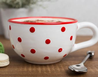 City to Cottage White And Red Polka Dot Spotty Handmade Hand Painted Ceramic Extra Large 17.5oz/500ml Cappuccino Coffee Tea Soup Mug | Cup