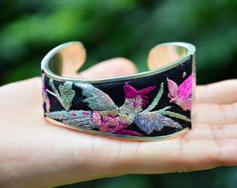 Unique Retro Wide Cuff Bracelet, Antique Embroidery Cuff, Old Silver Bangle, Fish shape Cuff, Mother's Day Gift; Phoenix Pattern Bracelet