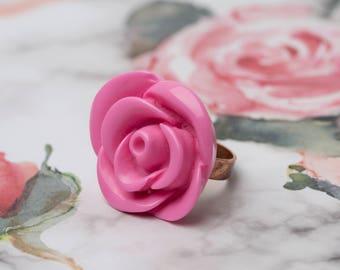 Vintage 90's Pink Plastic Rose Ring! GGGV# 7