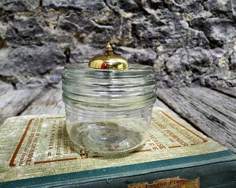 Glass jar with its domed gold metal - chic decor - bathroom storage - gift for her
