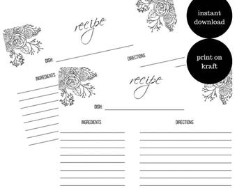 Printable recipe cards | INSTANT DOWNLOAD | DIY Recipe cards |