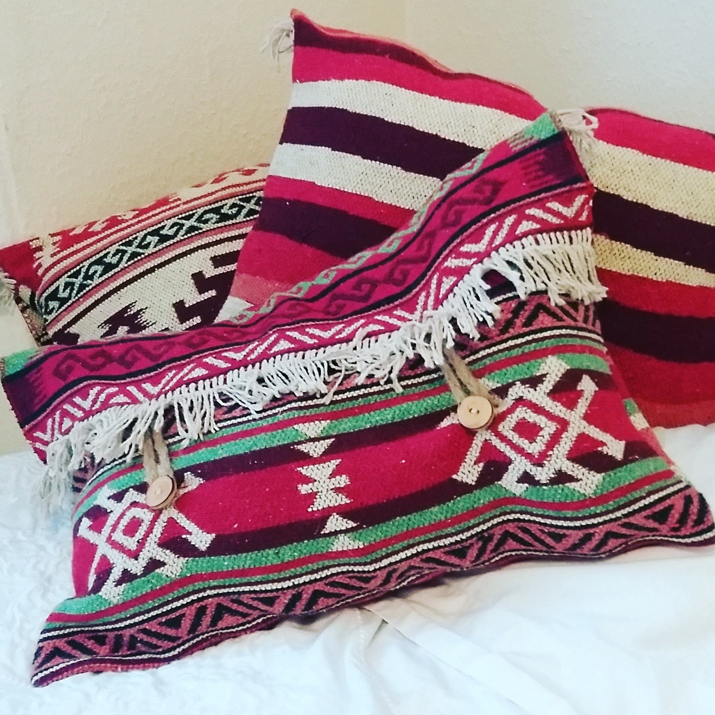 Red Blue Green Aztec Patterned Rectangle Rug Cushion