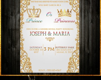 Royal Themed Gender Reveal Invitation 4x6 or 5x7 Print at home or let us print for you!