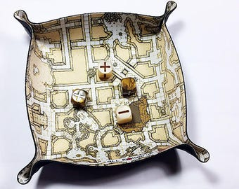 Square Dice Tray - Geomorphic Megadungeon Theme (Beige)