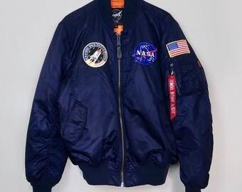 Vintage NASA Space Navy Blue Bomber Jacket Men's Size Large