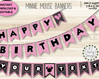 Instant Download Editable Pink Minnie Mouse Banners