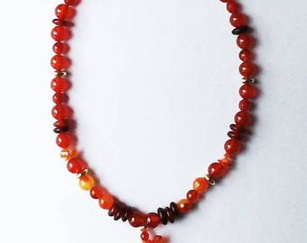 Chinese Zodiac carved agate SNAKE necklace