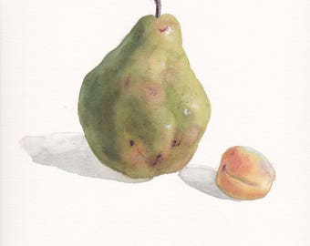 Original watercolor painting / Still life with pear and apricot on white background / Green and orange / Realistic fruit art / Small picture