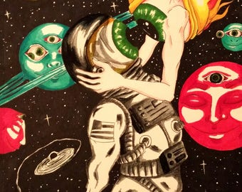 """psychedelic space ink and marker drawing 8""""x12"""" - """"Otherworldly Bodies"""""""
