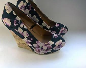 High heel Wedge Floral Shoes Black Platform Heels 15cm Wedge Pumps Floral Print Pink Flowers High Quality Comfort Flower shoes Atmosphere 40