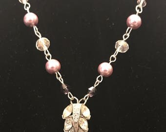 Silver Leaf Vintage Pendant with Pink Beads, Toggle Clasp Necklace