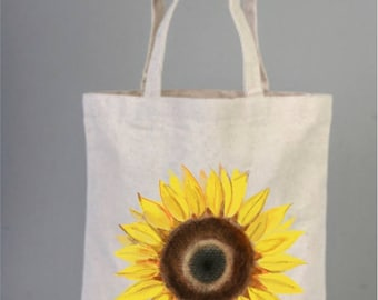 Sun Flowers Tote Bag, Sunflower Gifts, Sunflower Tote, Hand Drawed Bag, Tote Bag, Cotton Bags Logo, Tote Bag Canvas, Handmade Bags