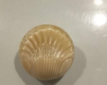 Czech glass moonglow shell button.