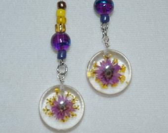 Sage Allysa's Real Flower Pendant Earrings