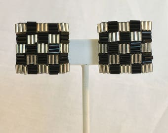 Square Silver and Black Bugle Tube Seed Bead Checker Board Pattern Vintage Clip Earrings