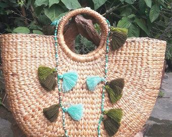 Natural green tassel necklaces,Green tassel,Beads&Tassel necklaces,Pom pom necklaces,Hand made necklaces.