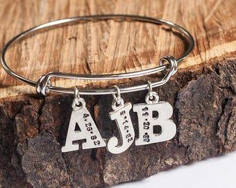 Bangle Bracelet, Initial Bracelet, Customizable Bracelet, Birthdate Bracelet, Anniversary Bracelet, Hand stamped Bangle Bracelet