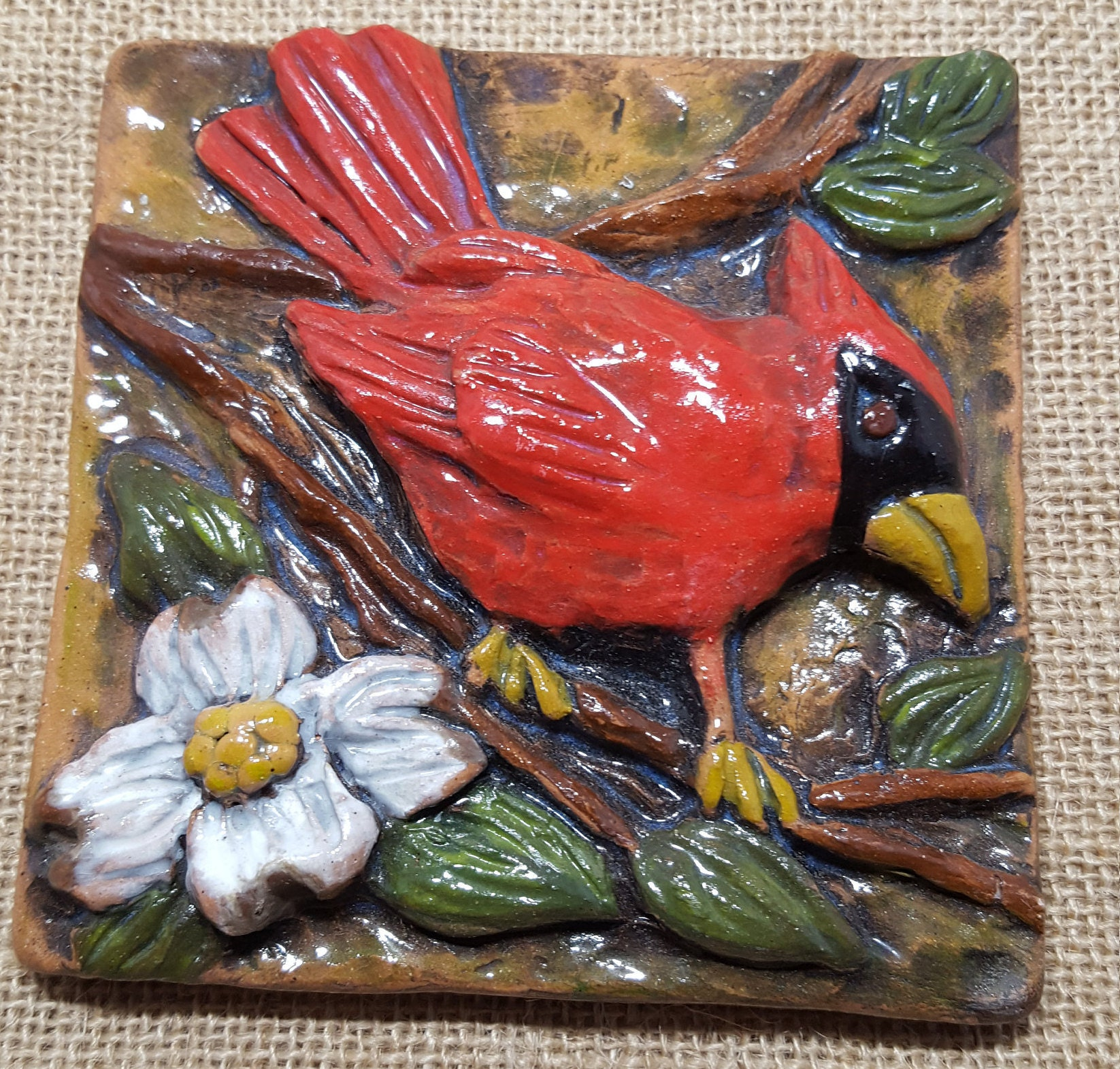 Cardinal ceramic wall tile handmade 4 x 4 ceramic tile art cardinal ceramic wall tile handmade 4 x 4 ceramic tile art dailygadgetfo Choice Image