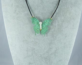 green silk sequined Butterfly Necklace Pearl White, satin black 45 cm + 4 cm, collection Ylona cord, whimsical jewelry, made in France