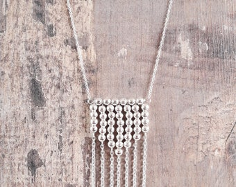 """Necklace """"Steve"""", silver beads and chain"""