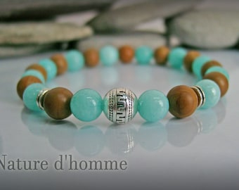 Amazonite aqua marine stones and Jasper bracelet wood Ref: BN-242