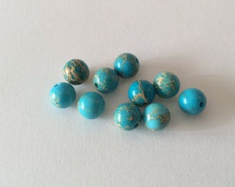 10 turquoise blue reality beads 6mm
