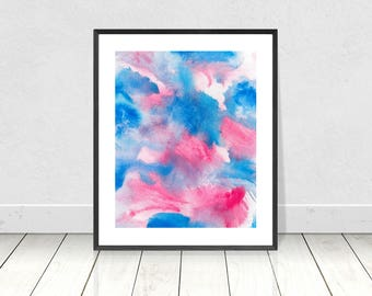 Pink Blue Abstract PRINTABLE Art, Blue Pink Watercolor Print, Watercolor Printable Art, Abstract Watercolour Print, Modern Wall Art, decor
