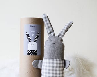 Handmade Plush Bunny / GREY BOXES / Stuffed / Cotton / Rabbit