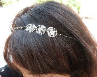 Wedding headband headpiece accessory romantic hairstyle 3 prints white rosettes, Alice collection