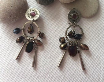 perré beads and Brown clip earrings