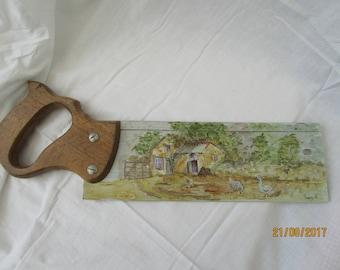 antique MITRE saw painted